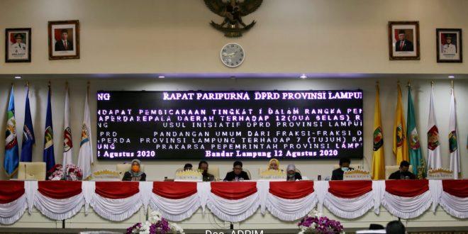 Paripurna DPRD Lampung, Pemprov Apreasiasi Usulan 12 Raperda DPRD