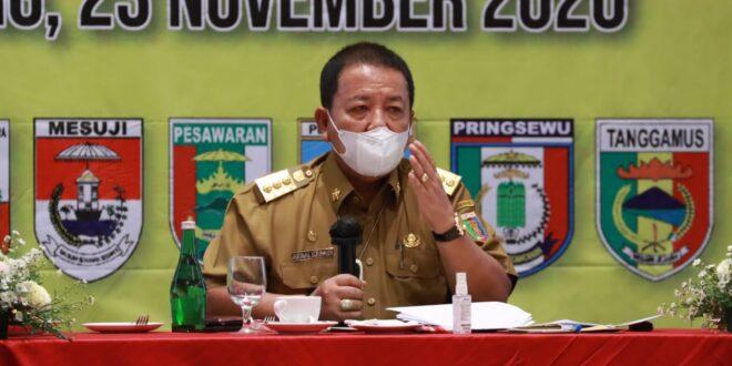 Gubernur Lampung Pimpin Rakor Satgas Covid-19 Se-Provinsi Lampung Dalam Penerapan Pergub Nomor 45 Tahun 2020