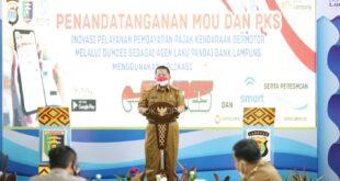 Gubernur Arinal Launching Samsat Desa e-Samdes dan L-Smart Juga Resmikan Desa Mart di Lampung Tengah